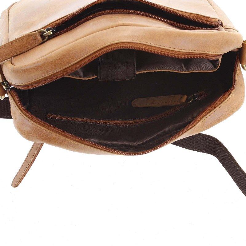 Pánská kožená taška se zipy Valentino koňaková
