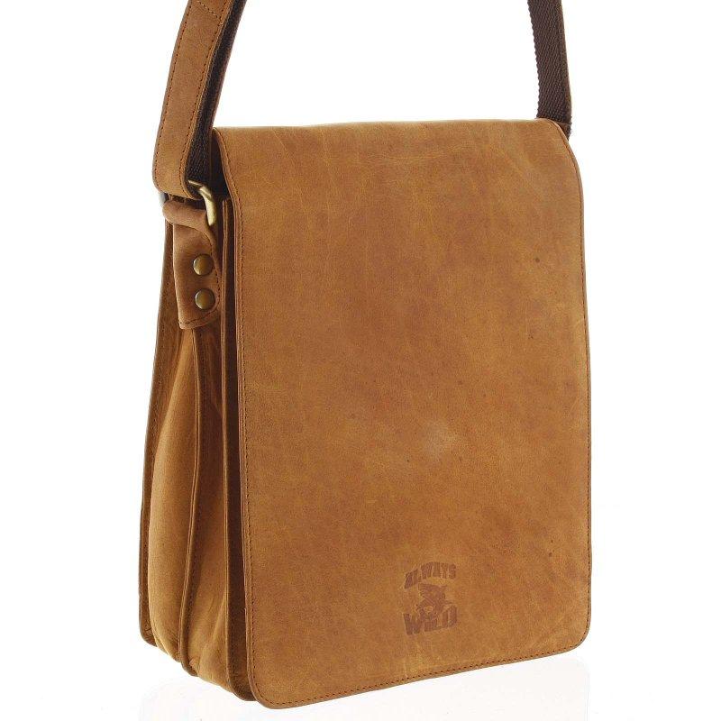 Pánská kožená taška s klopou Adilberto koňaková