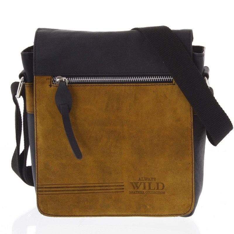 Pánská kožená taška s překlopem kombinovaná Diodora černá/oranžová
