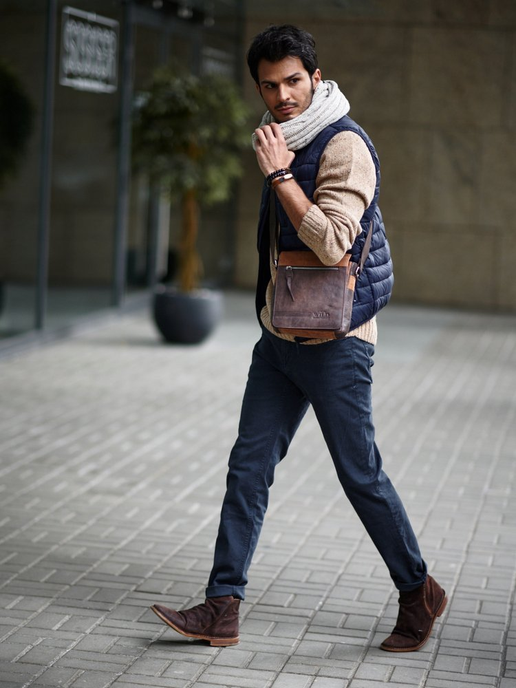 Pánská kožená kombinovaná taška Mauro černá/oranžová