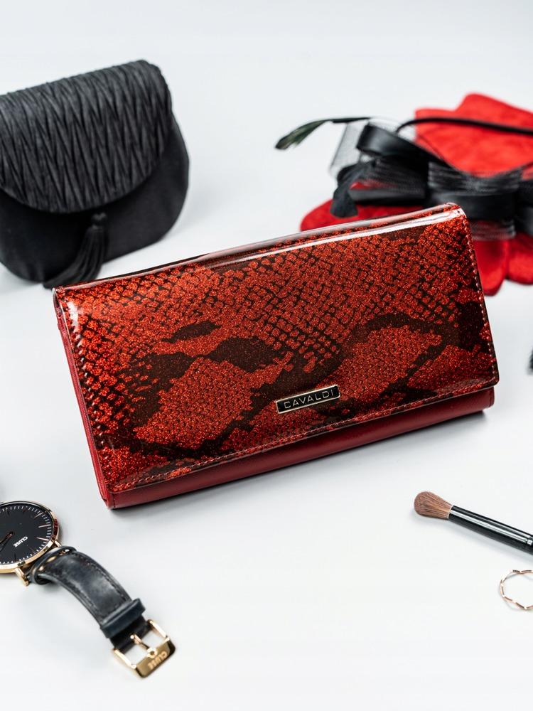 Exkluzivní kožená lakovaná dámská peněženka Lora, červená