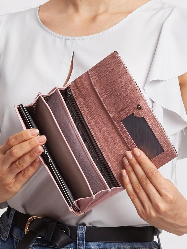Exkluzivní kožená lakovaná dámská peněženka Lora, růžová