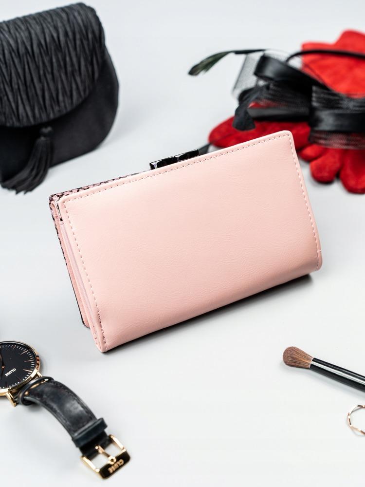 Lakovaná kožená dámská peněženka Flora, růžová