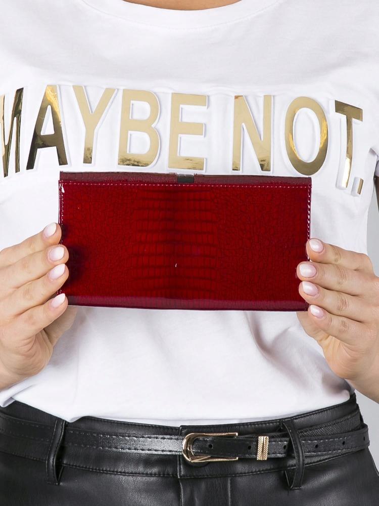 Luxusní prošívaná dámská peněženka z kůže Crea, červená