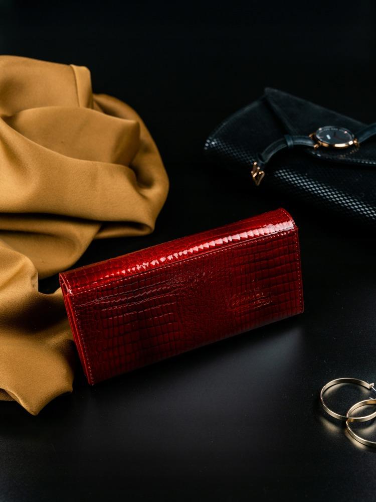 Kožená lakovaná peněženka croco Niara, červená