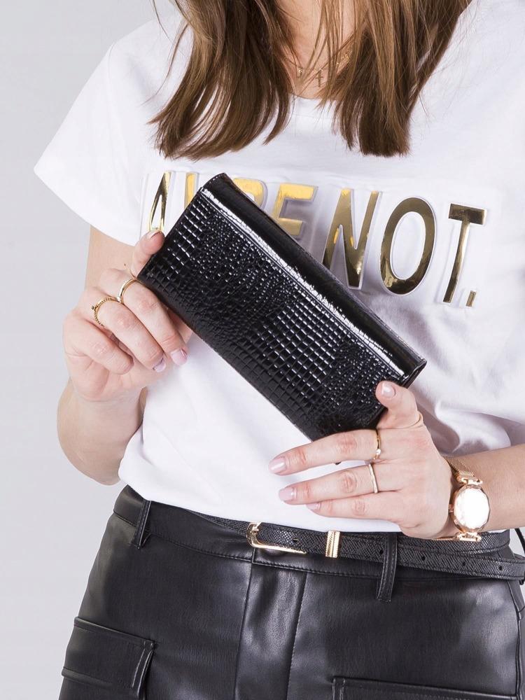 Kožená lakovaná peněženka croco Niara, černá