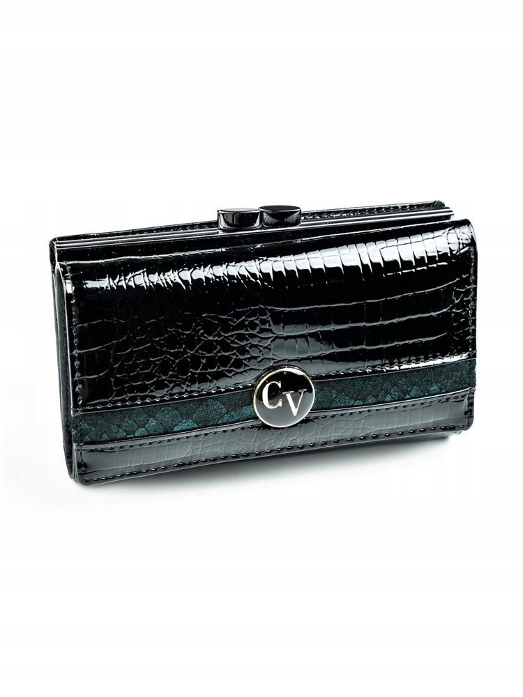 Zajímavá kožená dámská peněženka Meg, černo-modrá