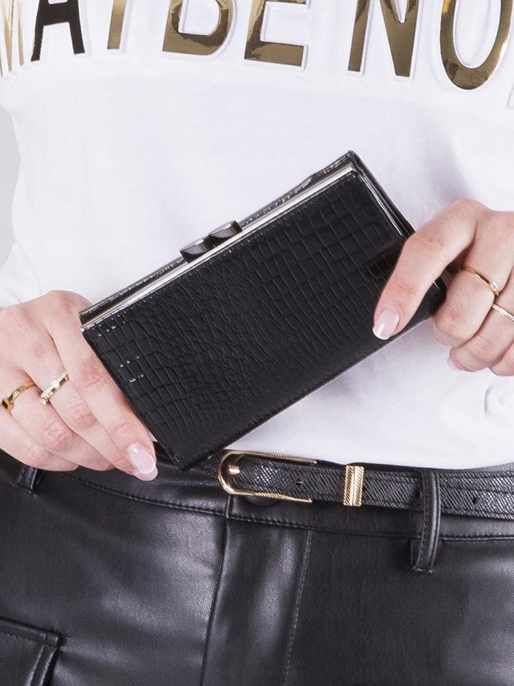 Zajímavá kožená dámská peněženka Meg, černo-zlatá