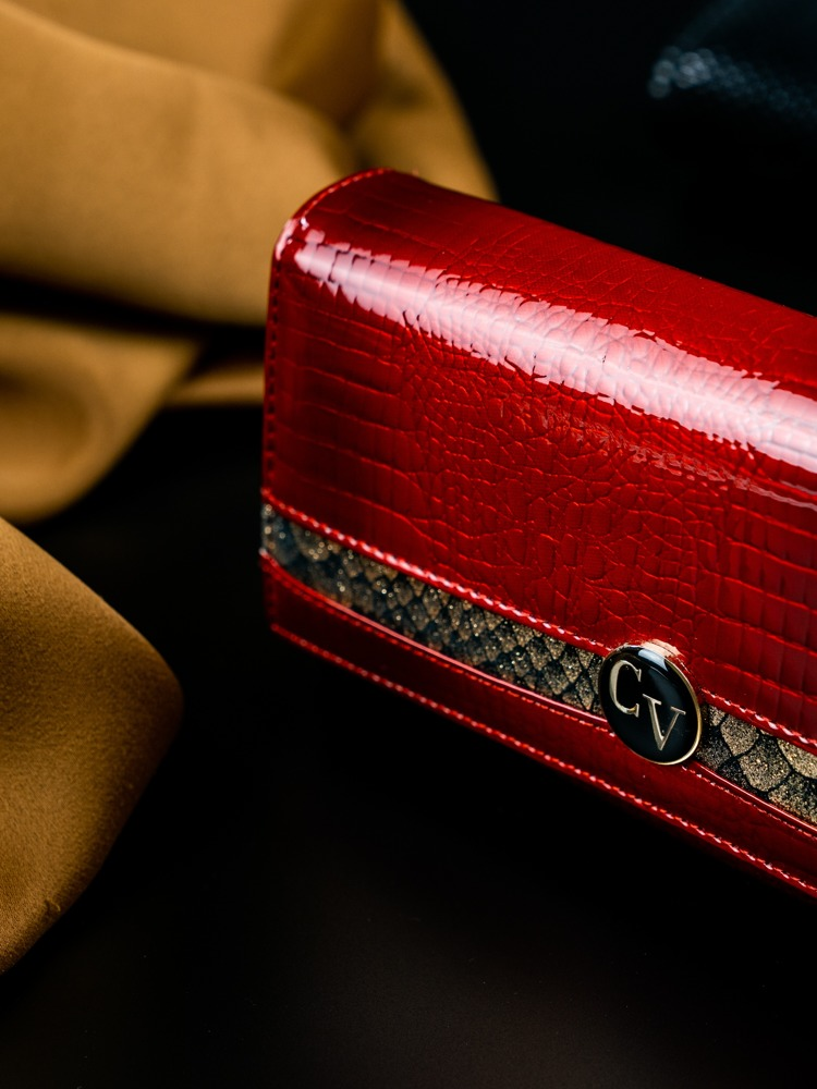 Vyjímečná dámská peněženka z kůže Evangelin, červeno-zlatá