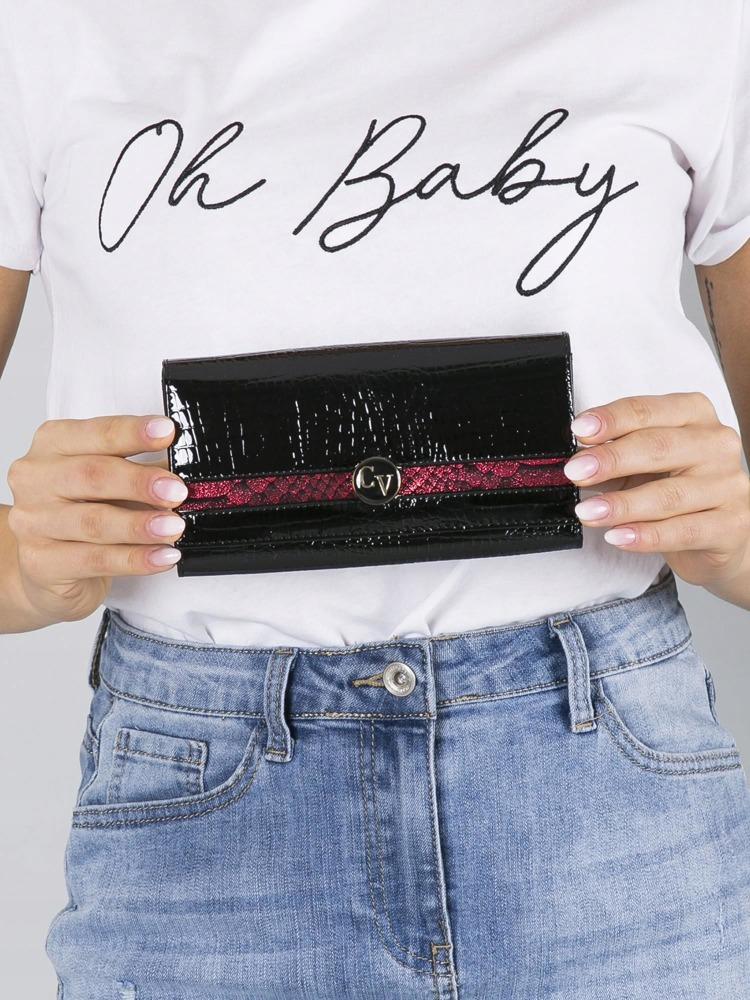 Vyjímečná dámská peněženka z kůže Evangelin, černo-červená