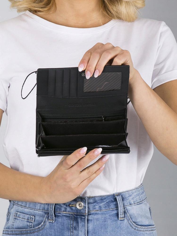 Vyjímečná dámská peněženka z kůže Evangelin, černo-zlatá