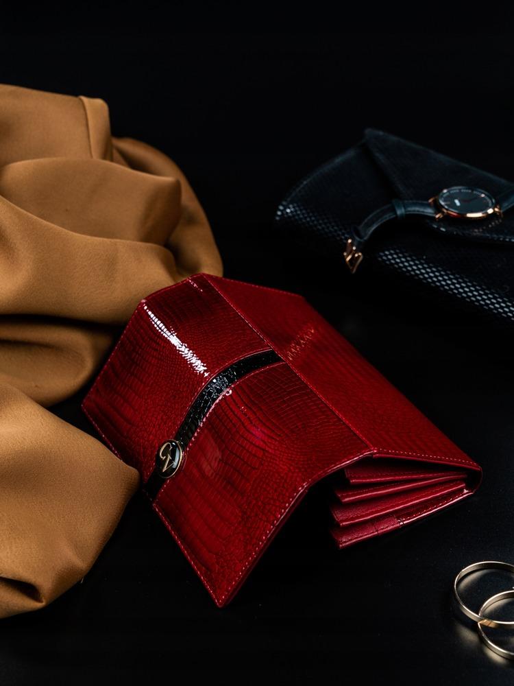 Luxusní lakovaná peněženka z kůže Gira, červená
