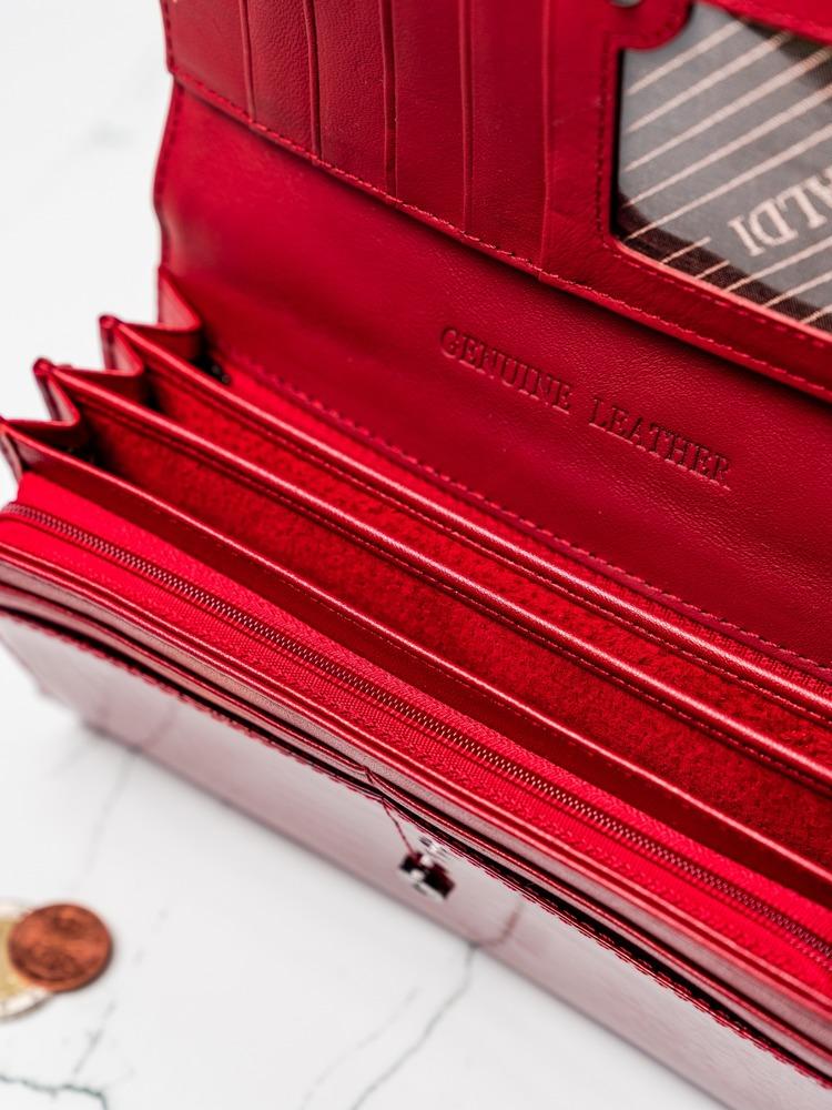 Velká dámská kožená peněženka Cavaldi, červená