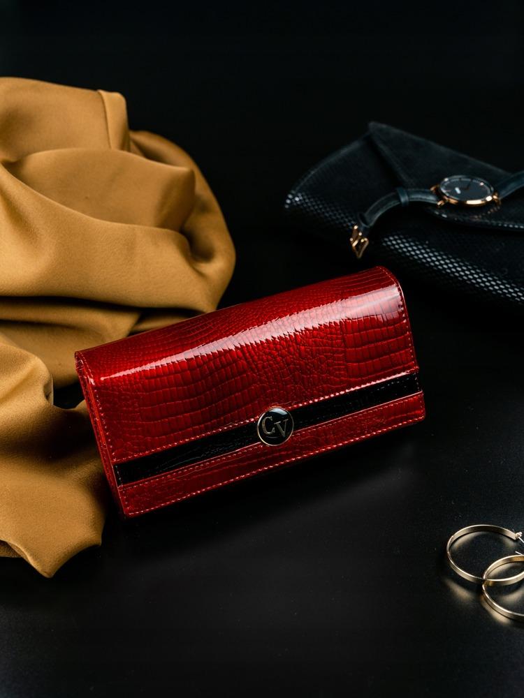 Extravagantní kožená lakovaná dámská peněženka Lil, červená
