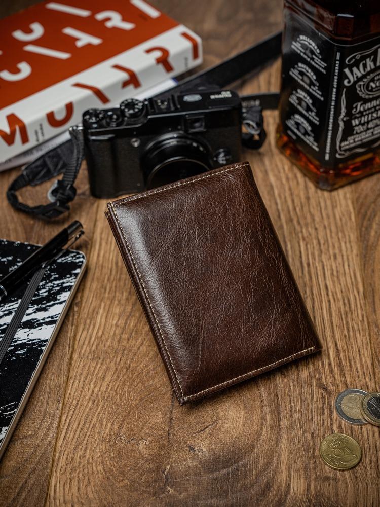 Pánská kožená peněženka Edric, kávová