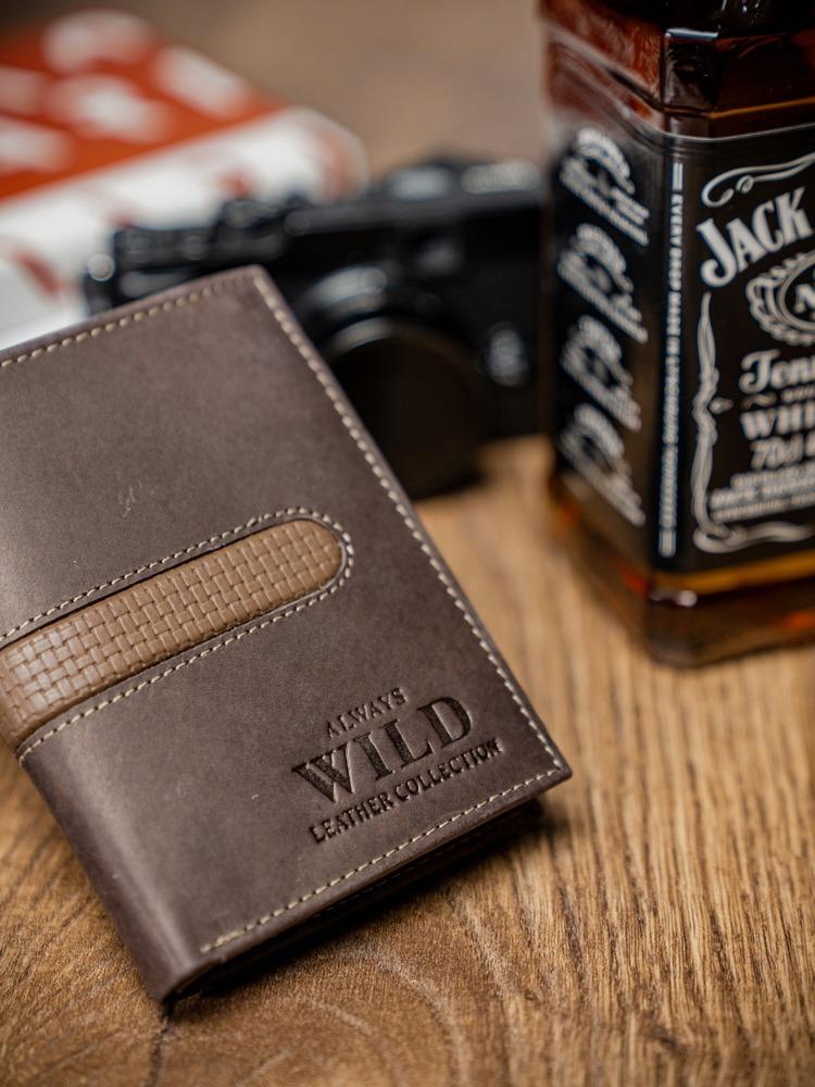 Pánská prošívaná kožená peněženka Reg, hnědá