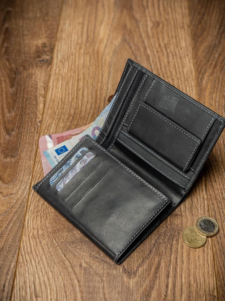Pánská prošívaná kožená peněženka Reg, černá