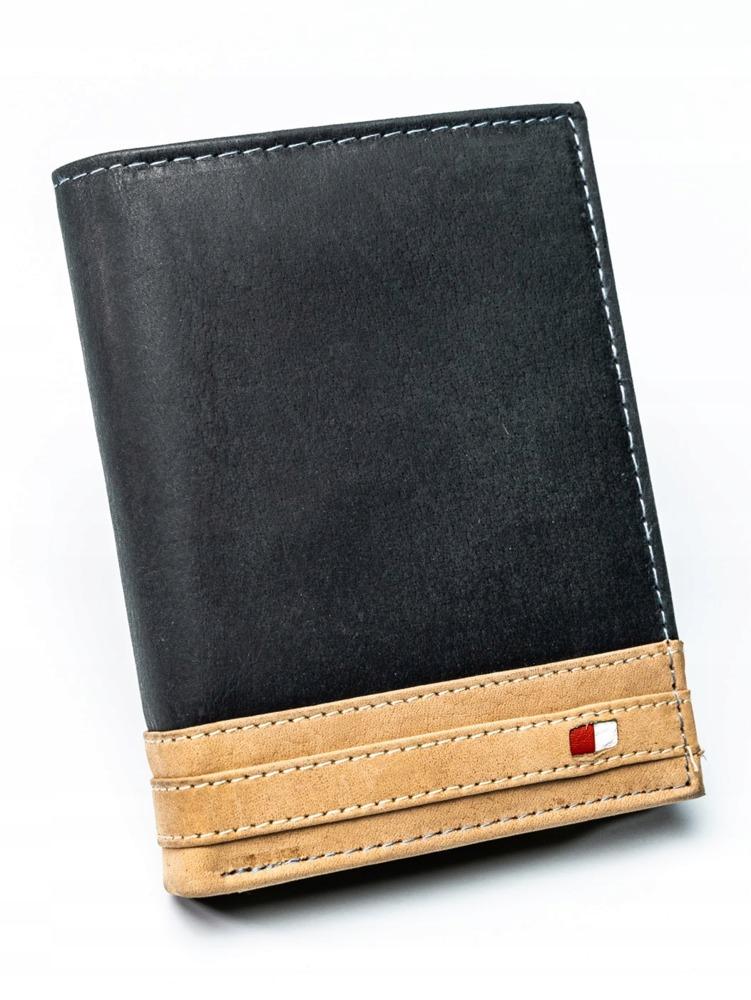 Pánská kožená peněženka Merv, černo-béžová