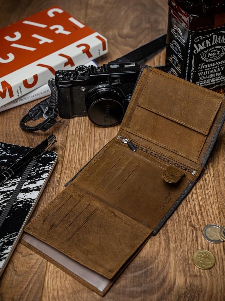 Prošívaná pánská kožená peněženka Eliseo, hnědo-černá