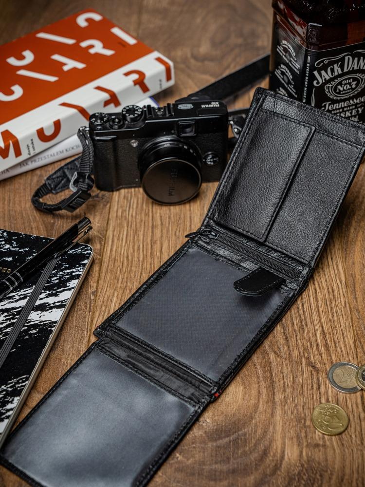 Pánská kožená peněženka na šířku Zed, černo-červená