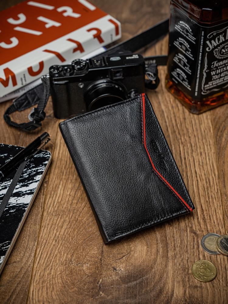 Malá pánská kožená peněženka Levi, černo-červená