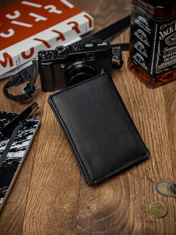 Malá pánská kožená peněženka Levi, černo-modrá