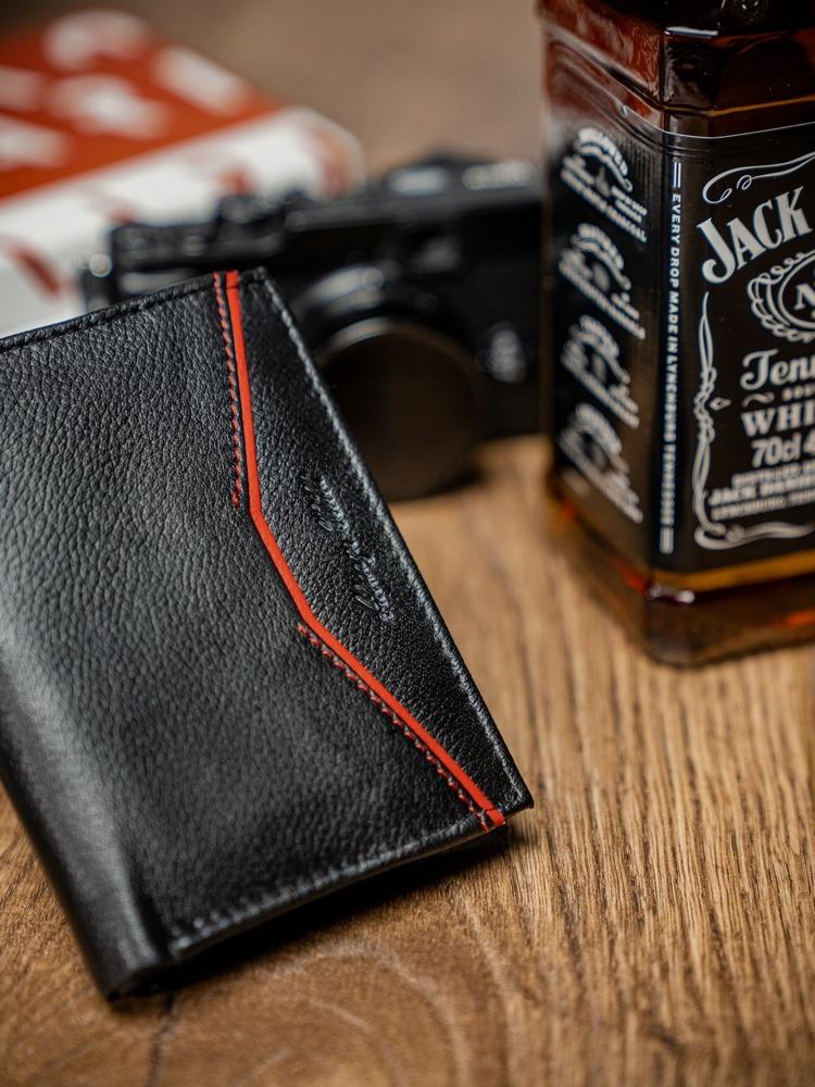 Praktická pánská kožená peněženka Cody, černo-červená