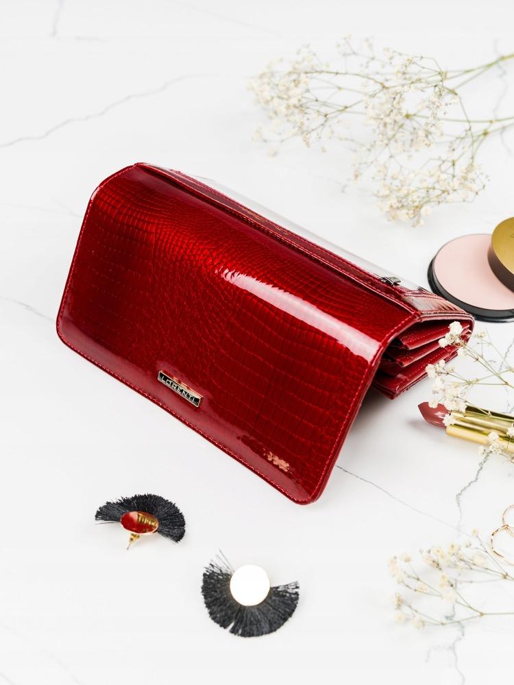 Lesklá obdélná peněženka pro dámy, červená