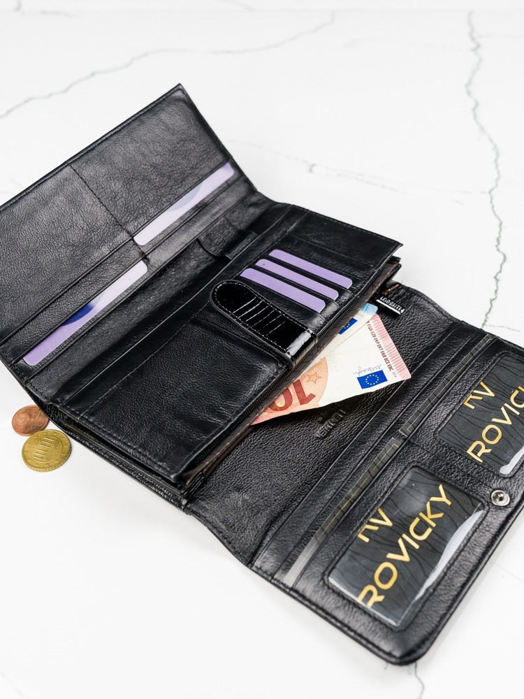 Lesklá obdélná peněženka pro dámy, černá