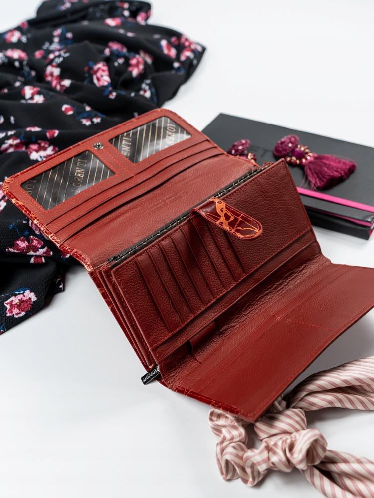 Červená dámská kožená peněženka Lorenti