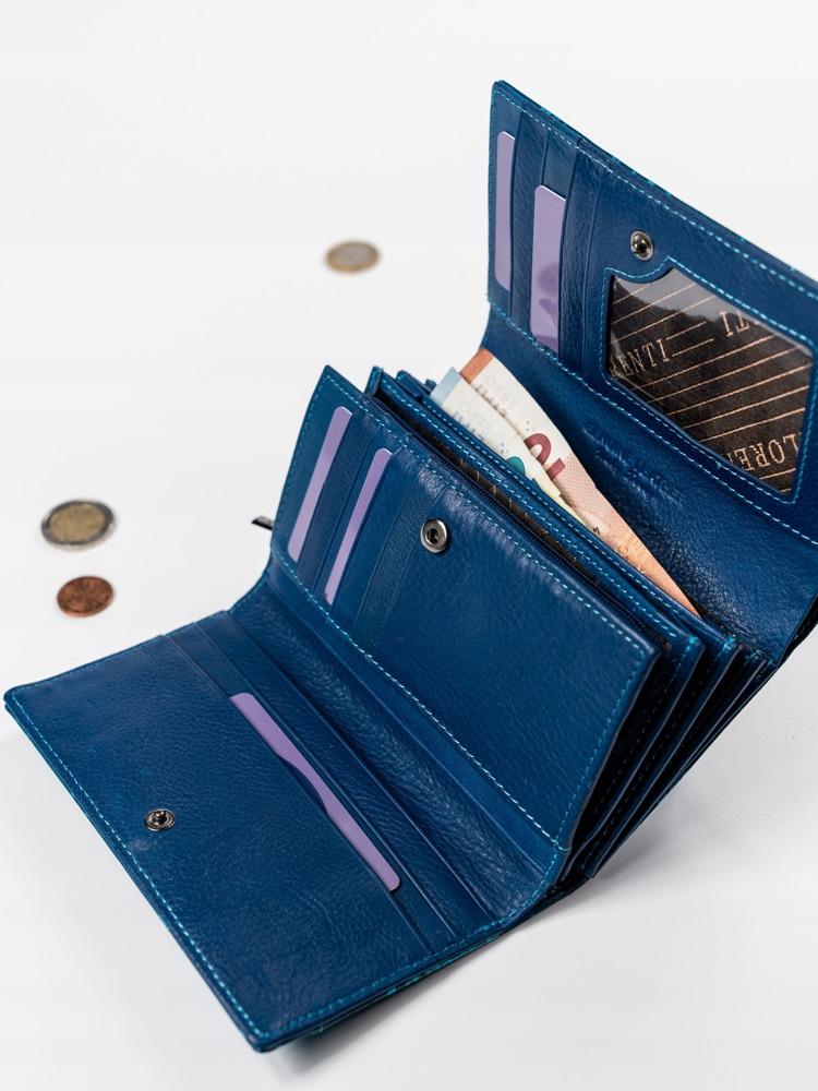 Moderní modrá kožená peněženka Sia