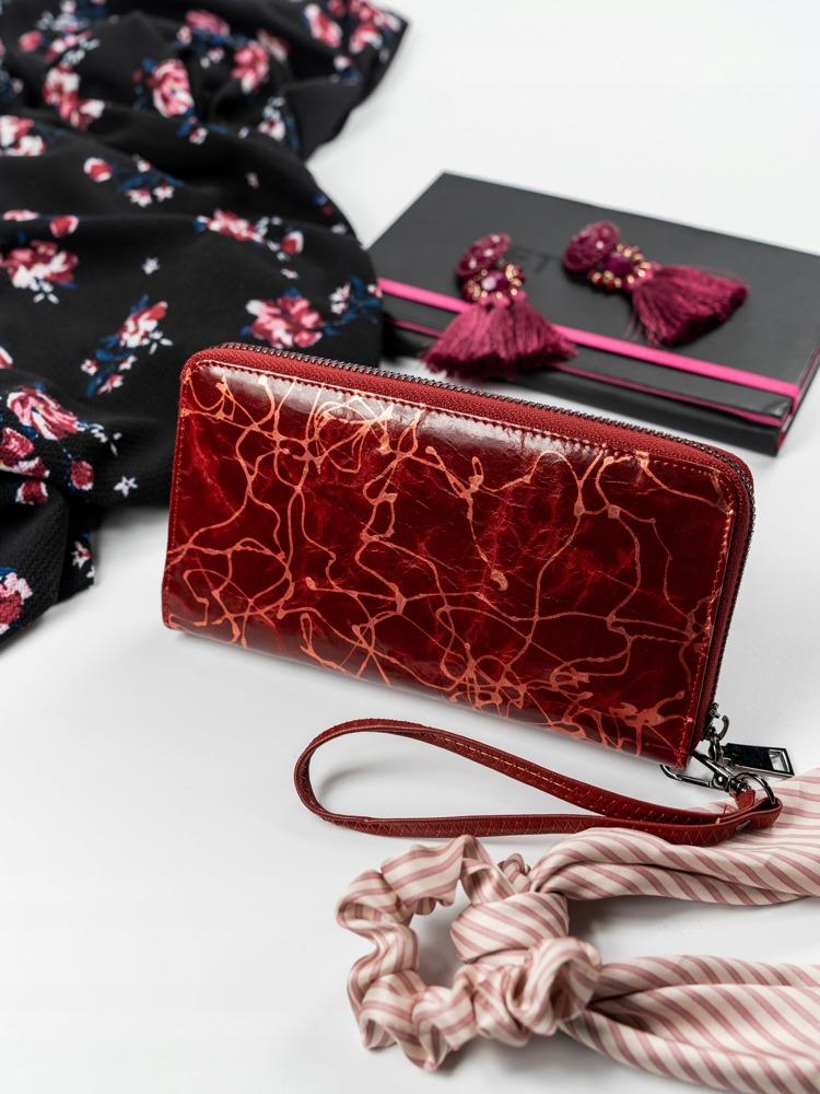 Kožená elegantní peněženka na zip, červená
