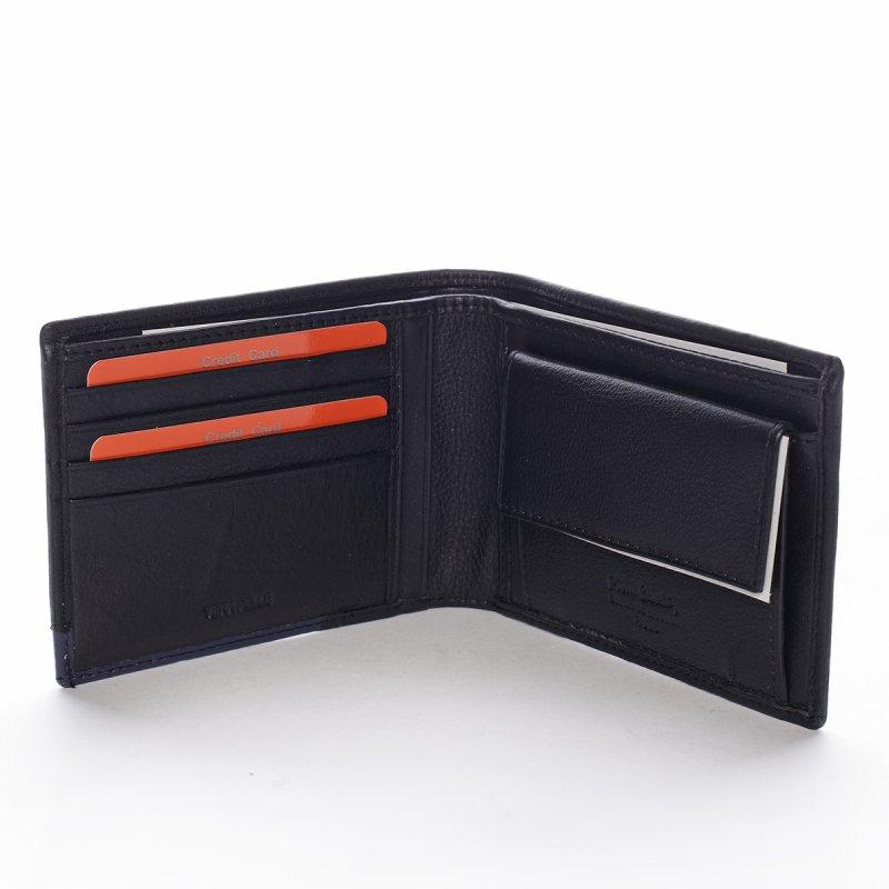 Pánská kožená peněženka Aristide černá/modrá
