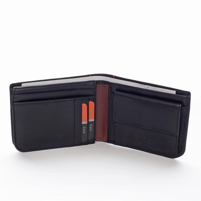 Pánská kožená peněženka s prošíváním Fabrizio černá/vínová