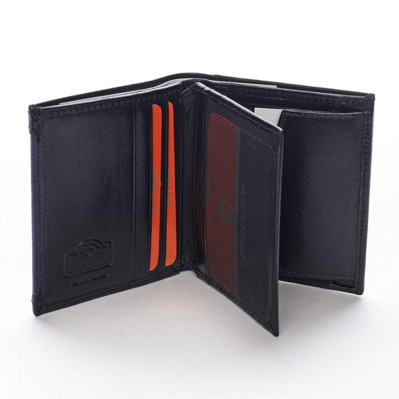 Módní pánská kožená peněženka Bernardo černá/modrá