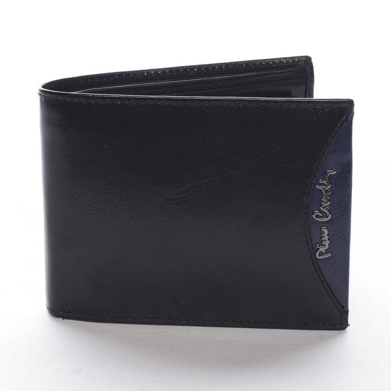 Módní pánská kožená peněženka Tarcisio černá/modrá