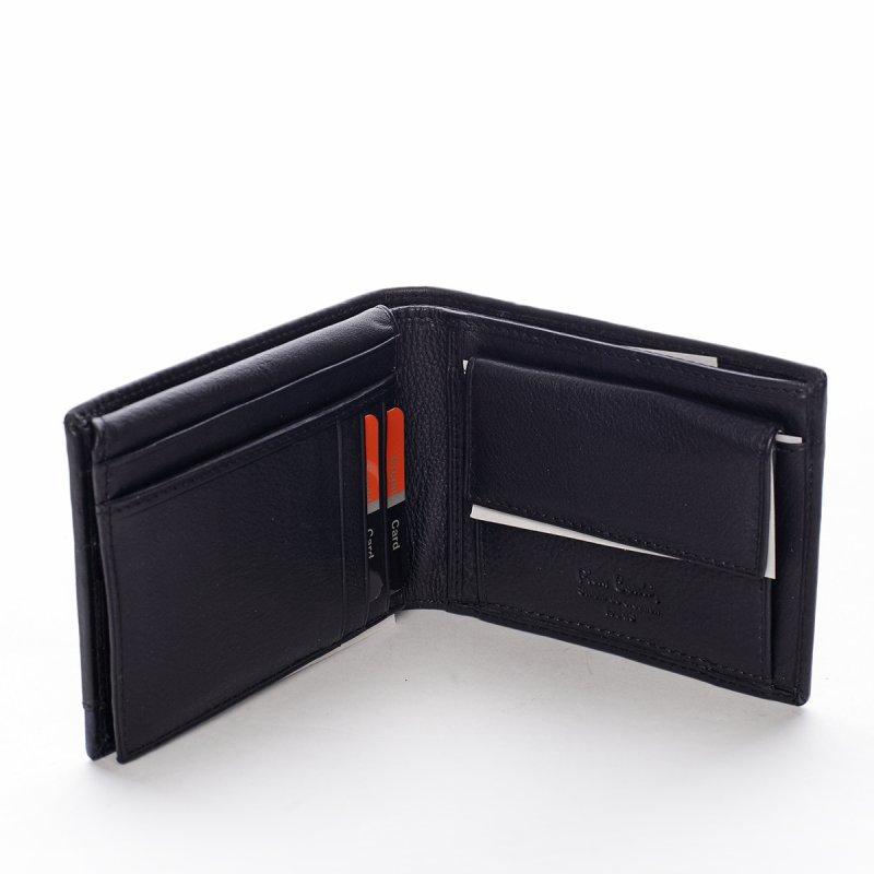 Pánská kožená peněženka Ercolano černá/modrá