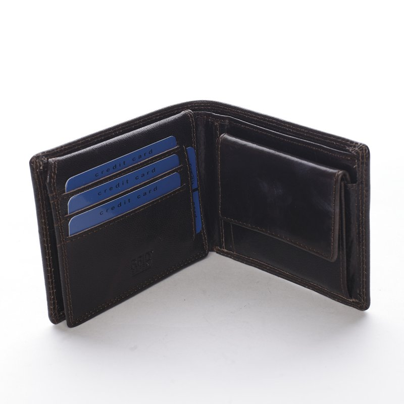 Módní pánská kožená peněženka s prošíváním Lorenzo tmavě hnědá