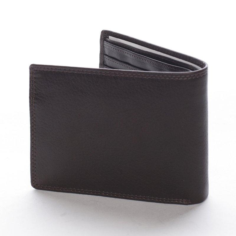 Stylová pánská kožená peněženka s prošíváním Romano tmavě hnědá
