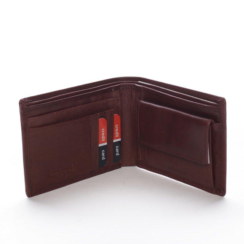 Stylová pánská kožená peněženka s prošíváním Romano hnědá