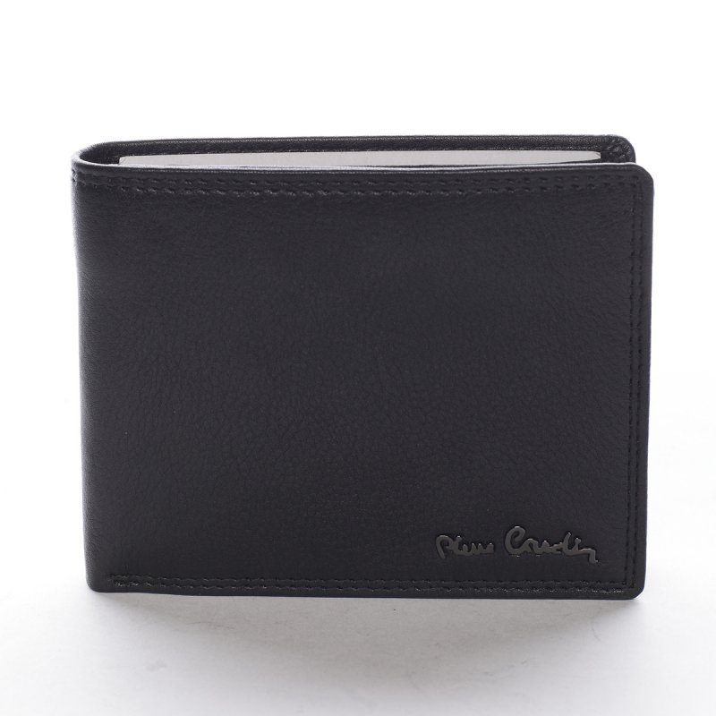Stylová pánská kožená peněženka s prošíváním Romano černá