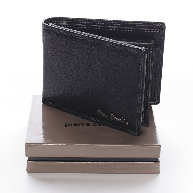 Módní pánská kožená peněženka s prošíváním Emilio černá