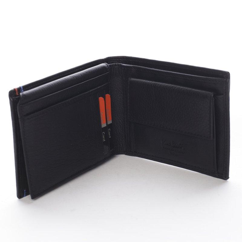 Stylová pánská kožená peněženka s detaily Eusebio černá