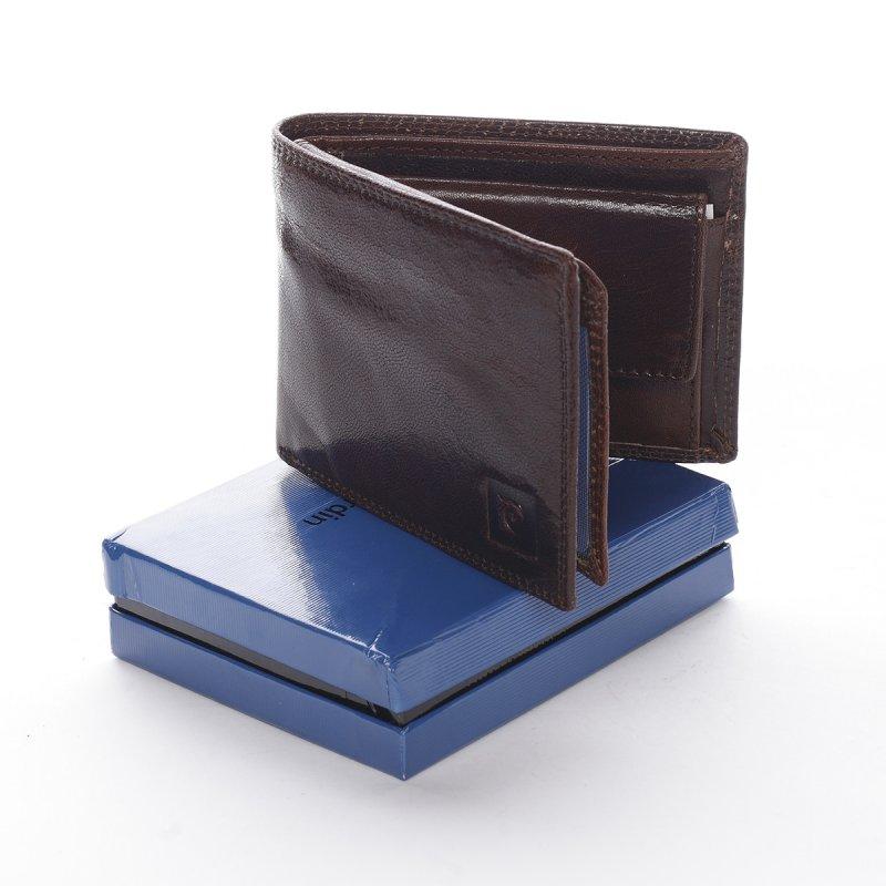 Lesklá kožená pánská peněženka Pietro hnědá