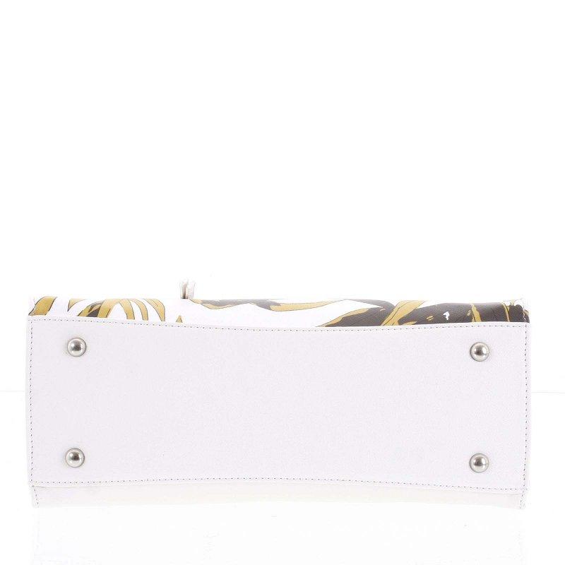 Dámská kufříková kabelka s potiskem Alessia bílá