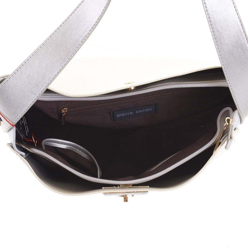 Krásná kombinovaná dámská kabelka Martina béžová/bílá