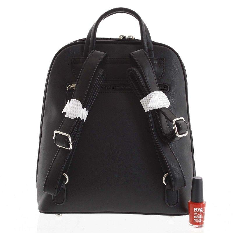 Jemný dámský koženkový batůžek Francesca černá