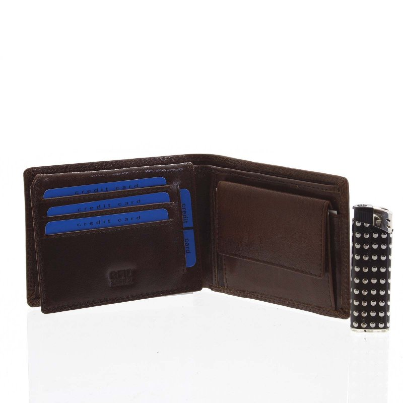 Pánská kožená peněženka s prošíváním Davide tmavě hnědá