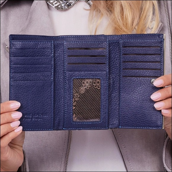 Kožená dámská peněženka Bechette, modrá