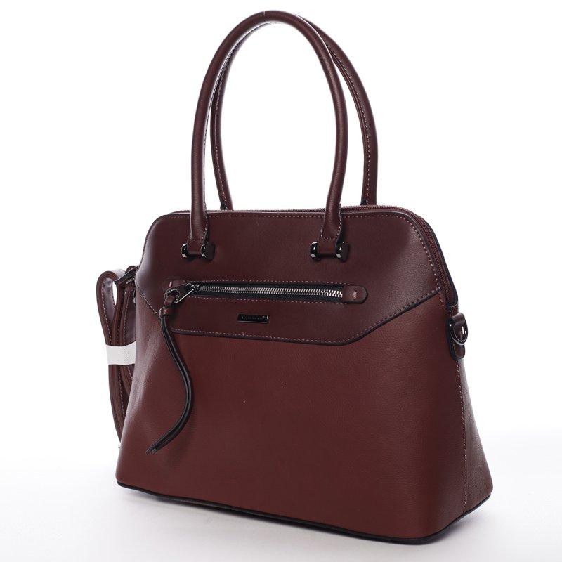 Elegantní dámská koženková kabelka Agata vínová